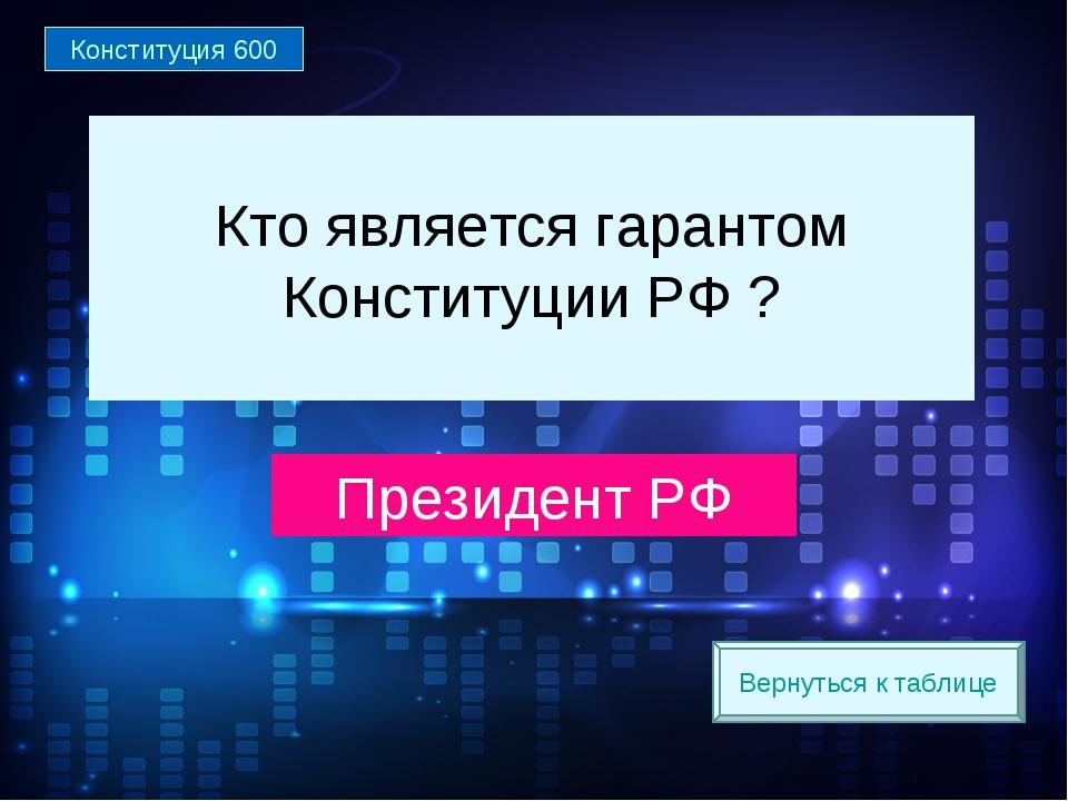 Вернуться к таблице Кто является гарантом Конституции РФ ? Президент РФ Конст...