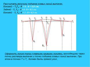 Рассчитать величину подъема осевых линий вытачек. Боковой – Т3Т4 : 8 = 6 : 8