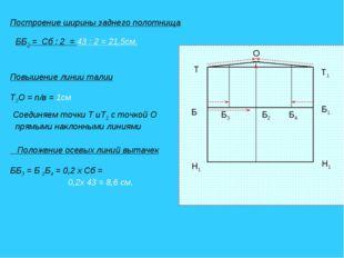 Построение ширины заднего полотнища ББ2 = Сб : 2 = 43 : 2 = 21,5см. Т1 Т Б1 Б