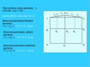 Рассчитать сумму вытачек ∑ (Сб+Пб) - (Ст + ПТ) = (43+3)- (33+1) = (46 –34) =