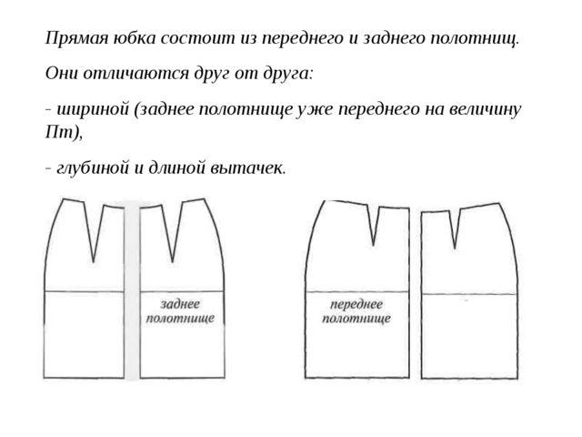 Прямая юбка состоит из переднего и заднего полотнищ. Они отличаются друг от д...