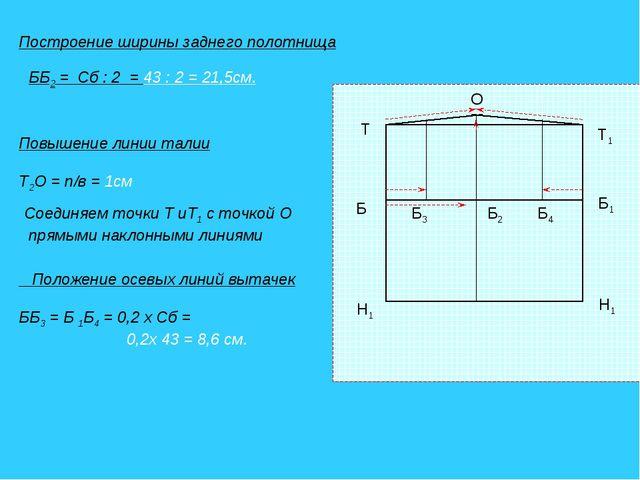 Построение ширины заднего полотнища ББ2 = Сб : 2 = 43 : 2 = 21,5см. Т1 Т Б1 Б...
