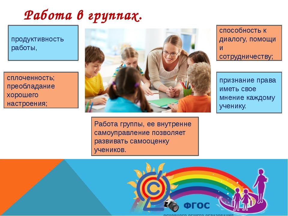Работа в группах. продуктивность работы, сплоченность; преобладание хорошего...