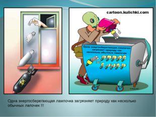 Одна энергосберегающая лампочка загрязняет природу как несколько обычных лапо