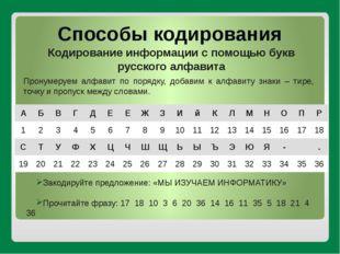 Способы кодирования Кодирование информации с помощью букв русского алфавита П