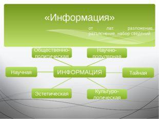 «Информация» от лат. разложение, разъяснение, набор сведений ИНФОРМАЦИЯ Научн