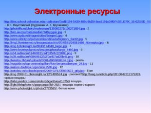 Электронные ресурсы http://files.school-collection.edu.ru/dlrstore/3ed1f194-5