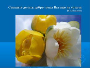 Спешите делать добро, пока Вы еще не устали (Е.Антошкин)