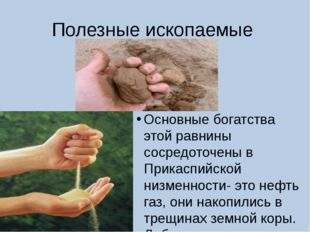 Полезные ископаемые Основные богатства этой равнины сосредоточены в Прикаспий