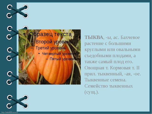 ТЫКВА, -ы, ас. Бахчевое растение с большими круглыми или овальными съедобным...