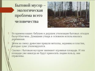 Бытовой мусор – экологическая проблема всего человечества Во времена наших ба