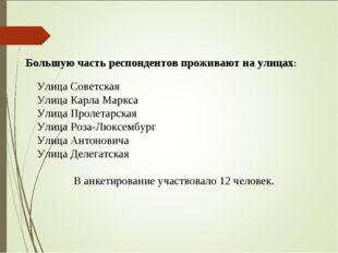 Большую часть респондентов проживают на улицах: Улица Советская Улица Карла М
