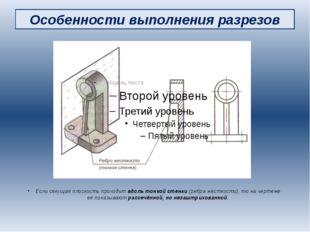 Особенности выполнения разрезов Если секущая плоскость проходит вдоль тонкой