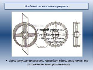 Особенности выполнения разрезов Если секущая плоскость проходит вдоль спиц ко