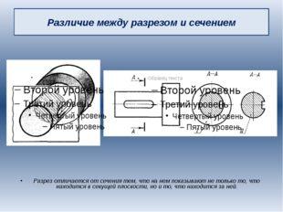 Различие между разрезом и сечением Разрез отличается от сечения тем, что на н