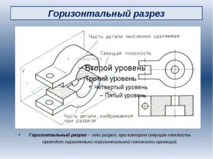 Горизонтальный разрез Горизонтальный разрез – это разрез, при котором секущая