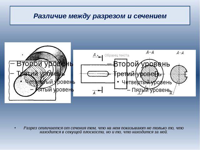 Различие между разрезом и сечением Разрез отличается от сечения тем, что на н...
