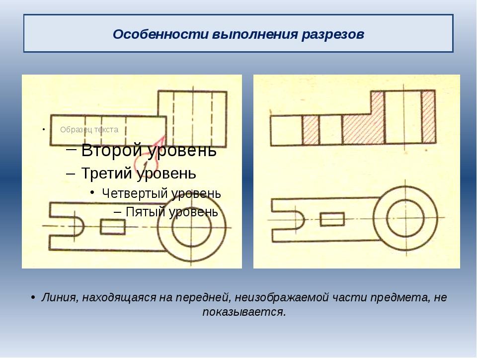Особенности выполнения разрезов Линия, находящаяся на передней, неизображаемо...