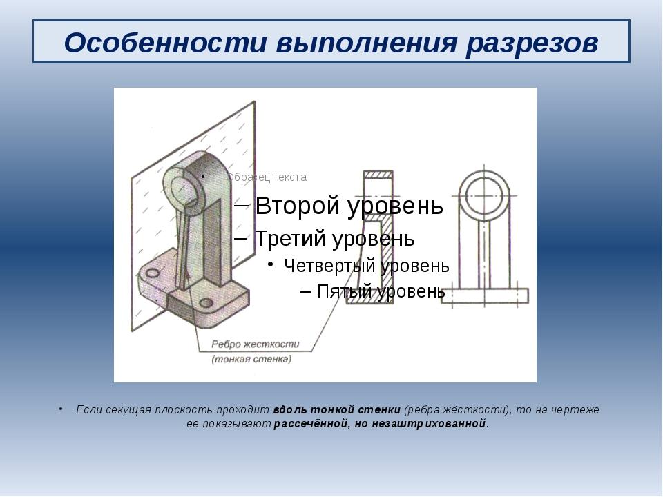 Особенности выполнения разрезов Если секущая плоскость проходит вдоль тонкой...