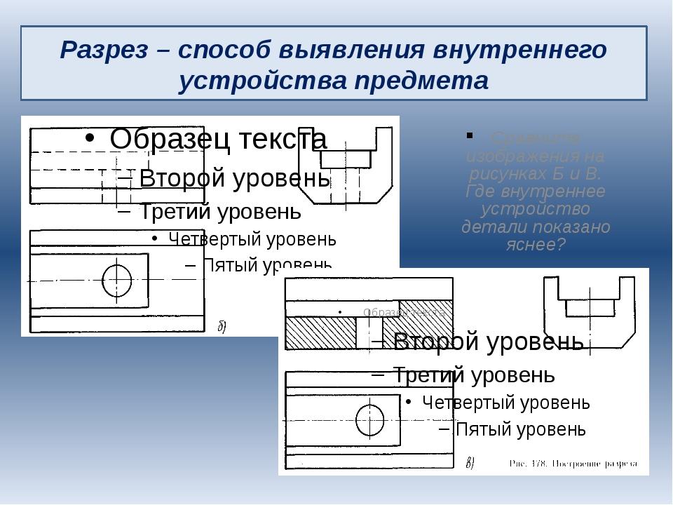 Сравните изображения на рисунках Б и В. Где внутреннее устройство детали пока...