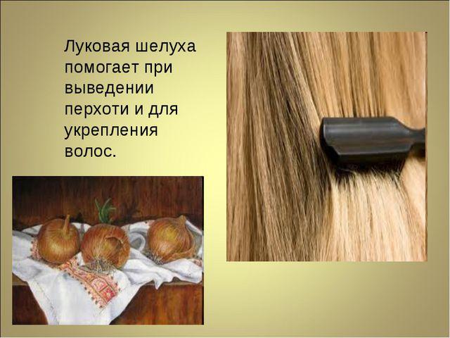 Луковая шелуха помогает при выведении перхоти и для укрепления волос.