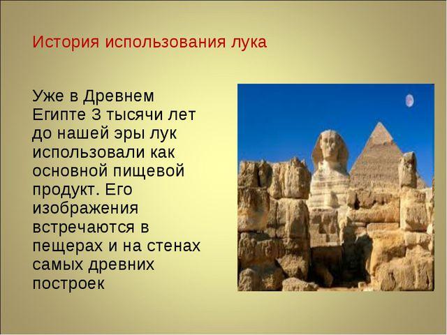 История использования лука Уже в Древнем Египте 3 тысячи лет до нашей эры лук...