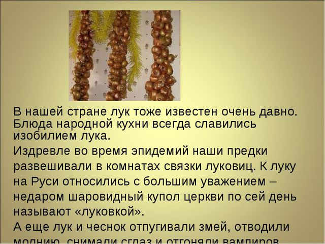 В нашей стране лук тоже известен очень давно. Блюда народной кухни всегда сла...