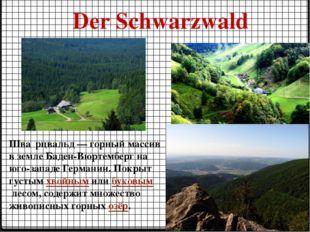 Der Schwarzwald Шва́рцвальд — горный массив в земле Баден-Вюртемберг на юго-з