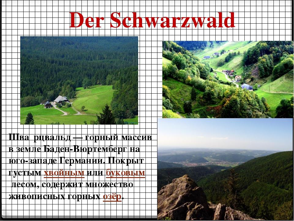 Der Schwarzwald Шва́рцвальд — горный массив в земле Баден-Вюртемберг на юго-з...