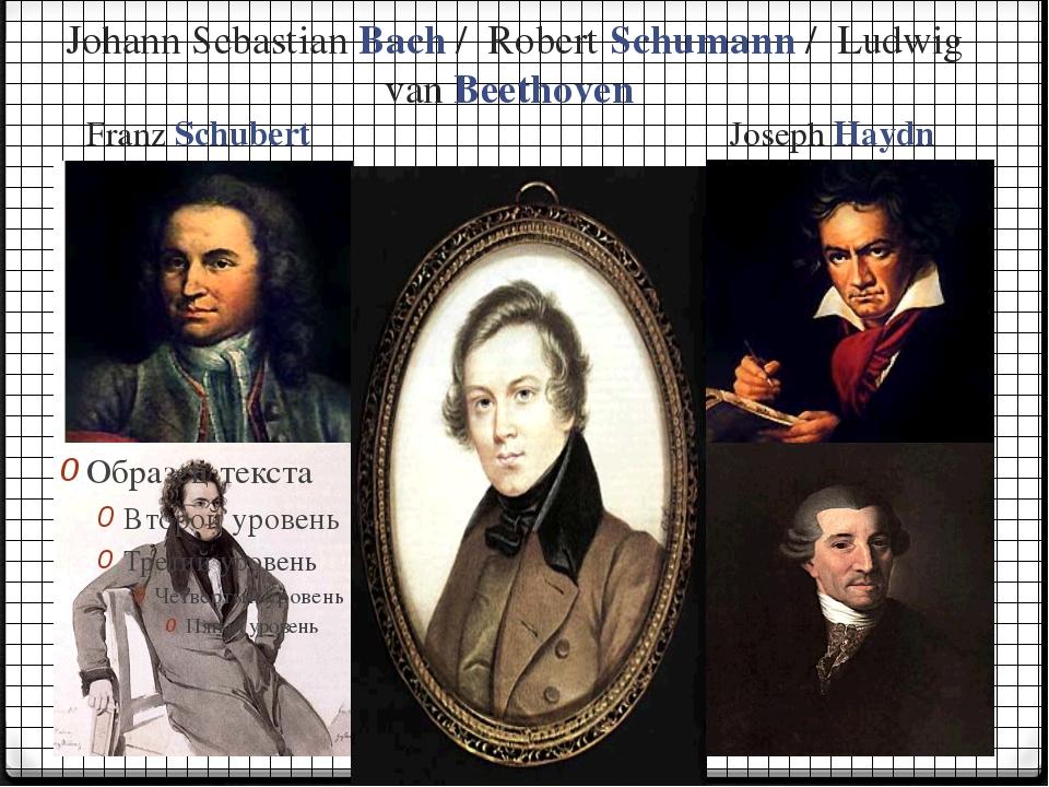 Johann Sebastian Bach / Robert Schumann / Ludwig van Beethoven Franz Schubert...