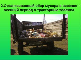 2.Организованный сбор мусора в весенне – осенний период в тракторные тележки.