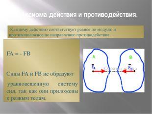 5. Аксиома действия и противодействия. Каждому действию соответствует равное