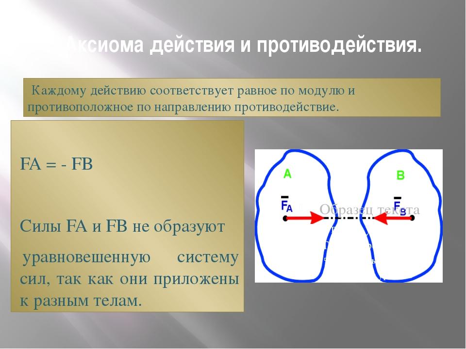 5. Аксиома действия и противодействия. Каждому действию соответствует равное...