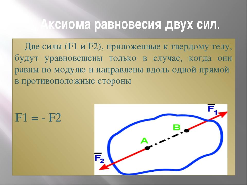 2. Аксиома равновесия двух сил. Две силы (F1 и F2), приложенные к твердому те...
