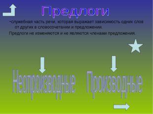 -служебная часть речи, которая выражает зависимость одних слов от других в сл