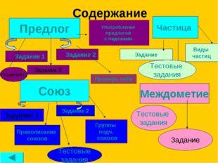 Содержание Предлог Союз Междометие Задание 1 Задание 2 Задание 3 Задание 2 За