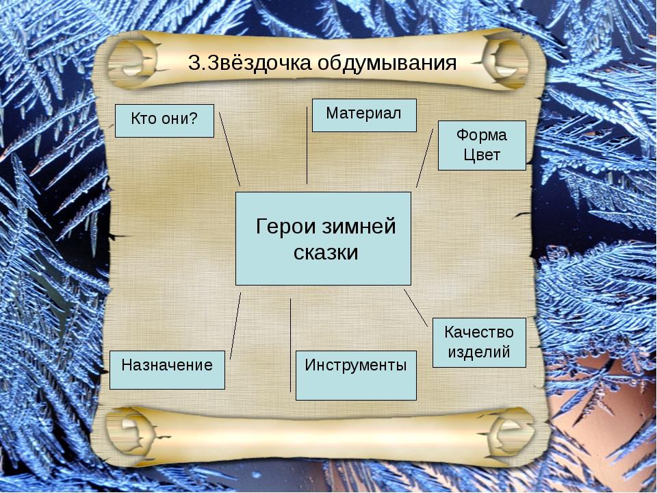 Кто они? Герои зимней сказки Назначение Инструменты 3.Звёздочка обдумывания М...