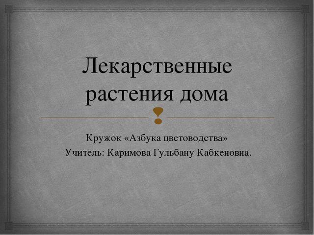 Лекарственные растения дома Кружок «Азбука цветоводства» Учитель: Каримова Гу...