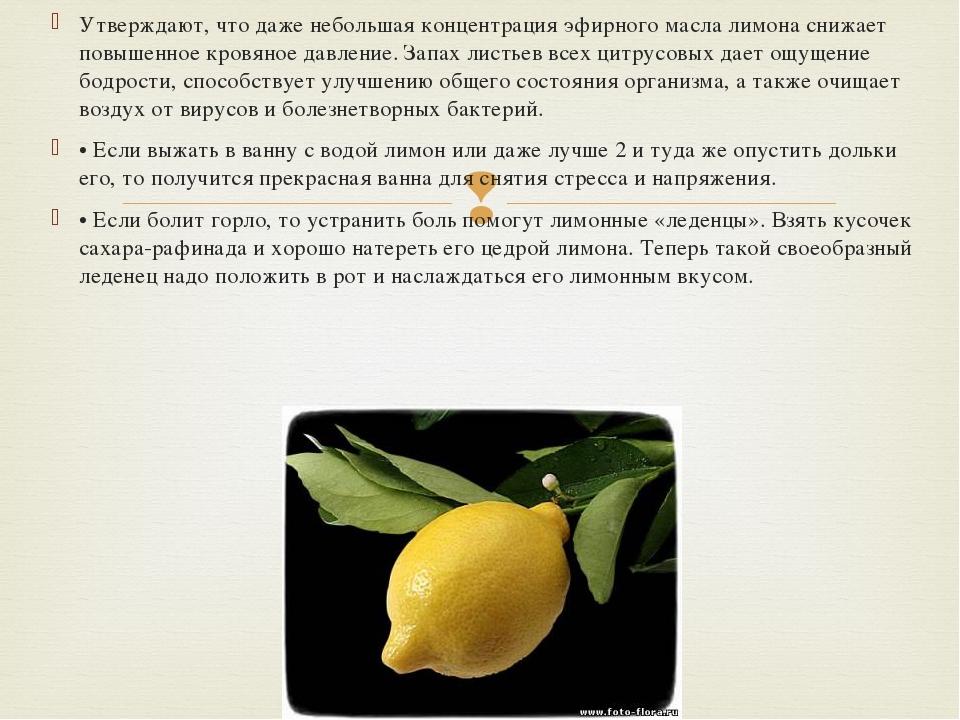Утверждают, что даже небольшая концентрация эфирного масла лимона снижает пов...