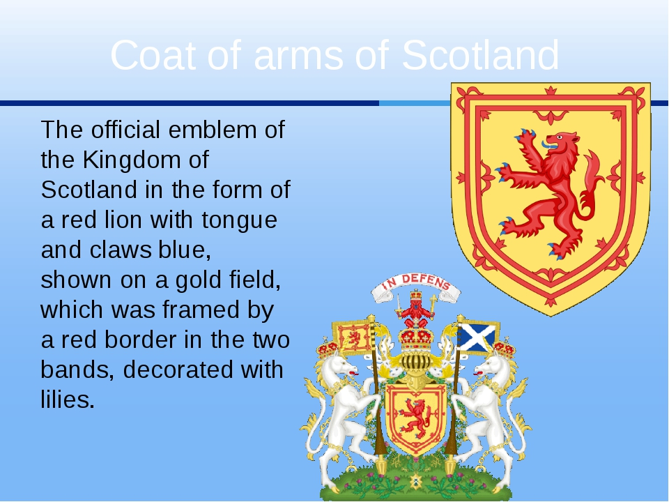 The official emblem of the Kingdom of Scotland in the form of a red lion with...