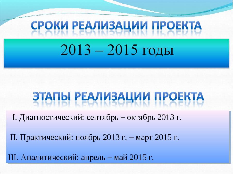 I. Диагностический: сентябрь – октябрь 2013 г. II. Практический: ноябрь 2013...