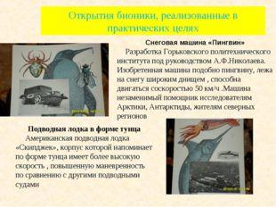 Открытия бионики, реализованные в практических целях Снеговая машина «Пингвин