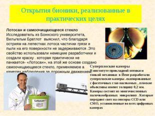 Открытия бионики, реализованные в практических целях Лотосан и самоочищающеес
