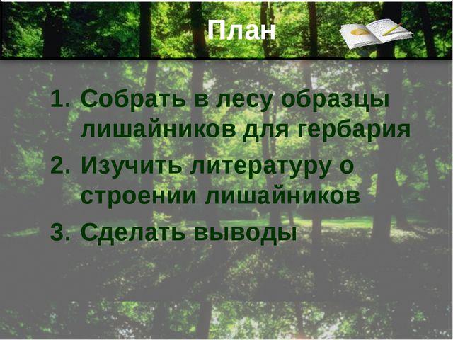 План Собрать в лесу образцы лишайников для гербария Изучить литературу о стро...