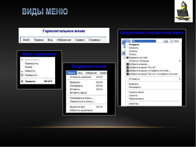 Горизонтальное меню Оперативное (контекстное) меню Меню управления Выдвижное...