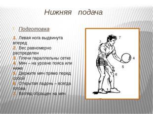 Нижняя подача Подготовка 1. Левая нога выдвинута вперед 2. Вес равномерно рас