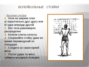 ВОЛЕЙБОЛЬНЫЕ СТОЙКИ Высокая стойка 1. Ноги на ширине плеч а/ параллельно друг