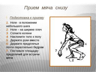 Прием мяча снизу Подготовка к приему 1. Ноги - в положении небольшого шага 2.