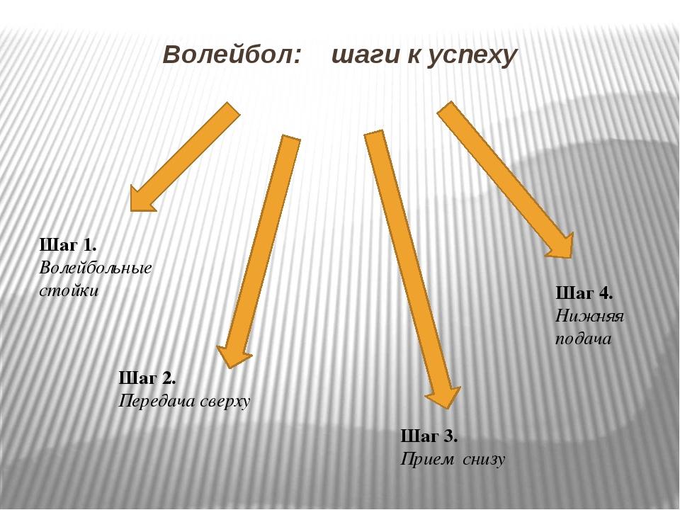 Волейбол: шаги к успеху Шаг 2. Передача сверху Шаг 3. Прием снизу Шаг 4. Нижн...