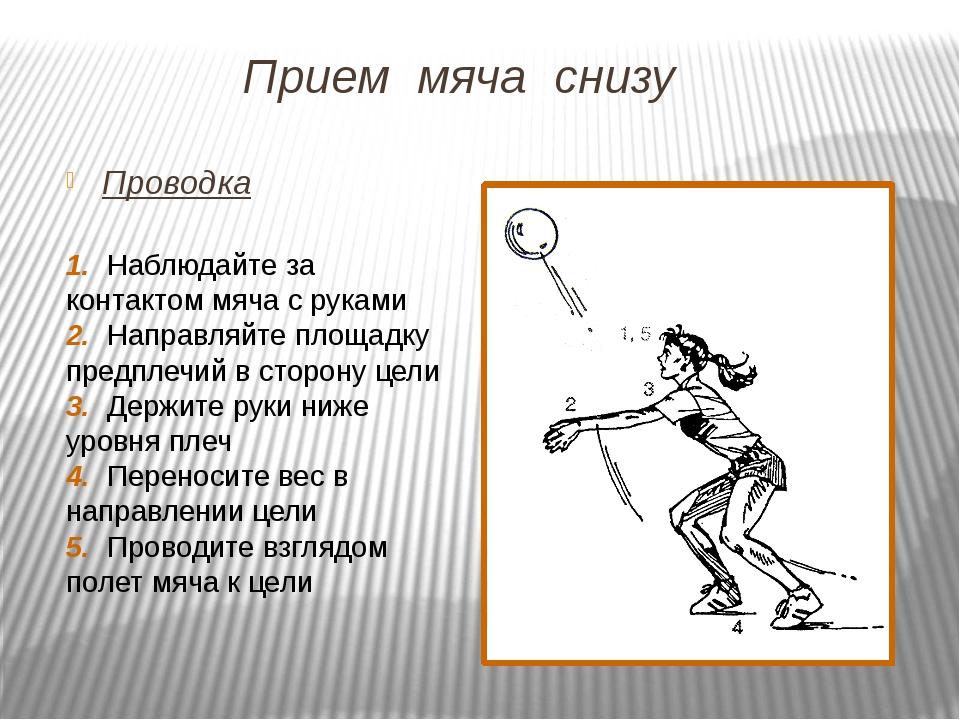 Прием мяча снизу Проводка 1. Наблюдайте за контактом мяча с руками 2. Направл...